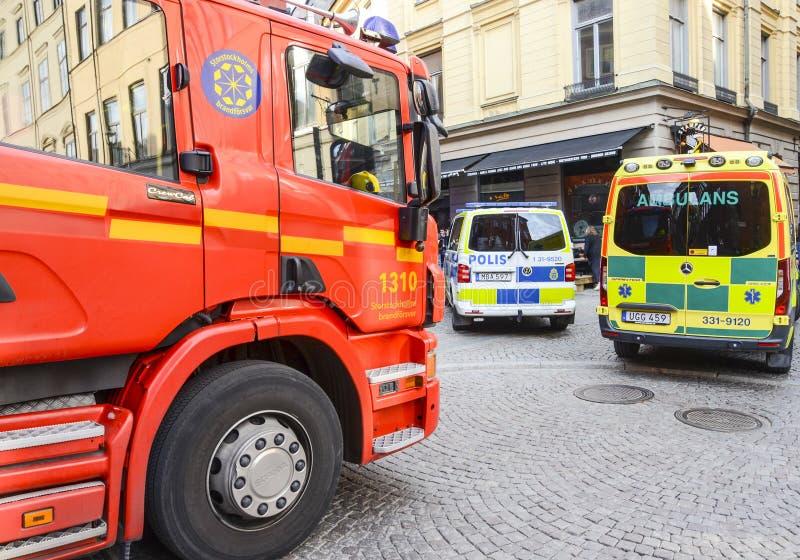 Police, feu et services médicaux, Stockholm, Suède images libres de droits