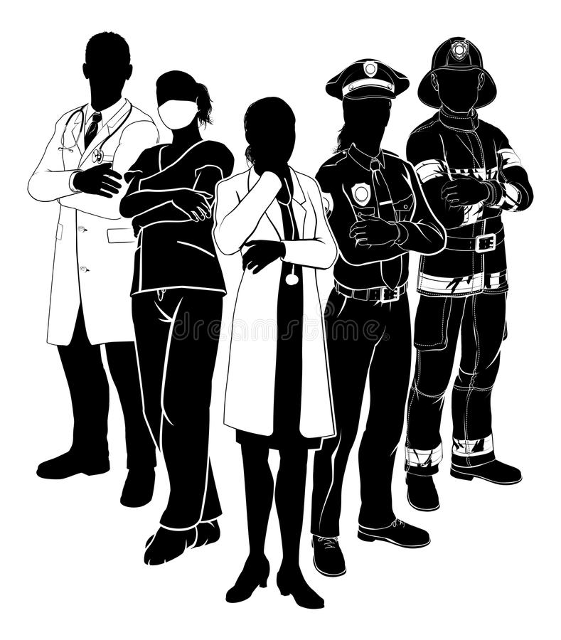 Police Fire Doctor Emergency Team Silhouettes. Silhouette emergency rescue services worker team with male and female police, fireman and doctors royalty free illustration