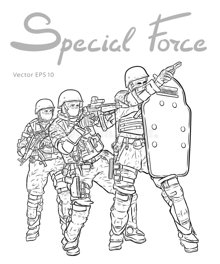 Police Forces anti terror operation. Vector sketch. Police Forces anti terror operation. Vector illustration royalty free illustration