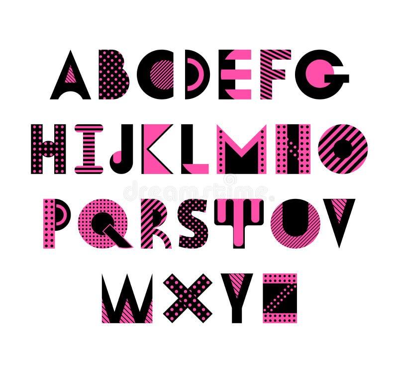 Police géométrique à la mode Alphabet abstrait dans le style de Memphis Dactylographiez les lettres 80s - 90s illustration stock