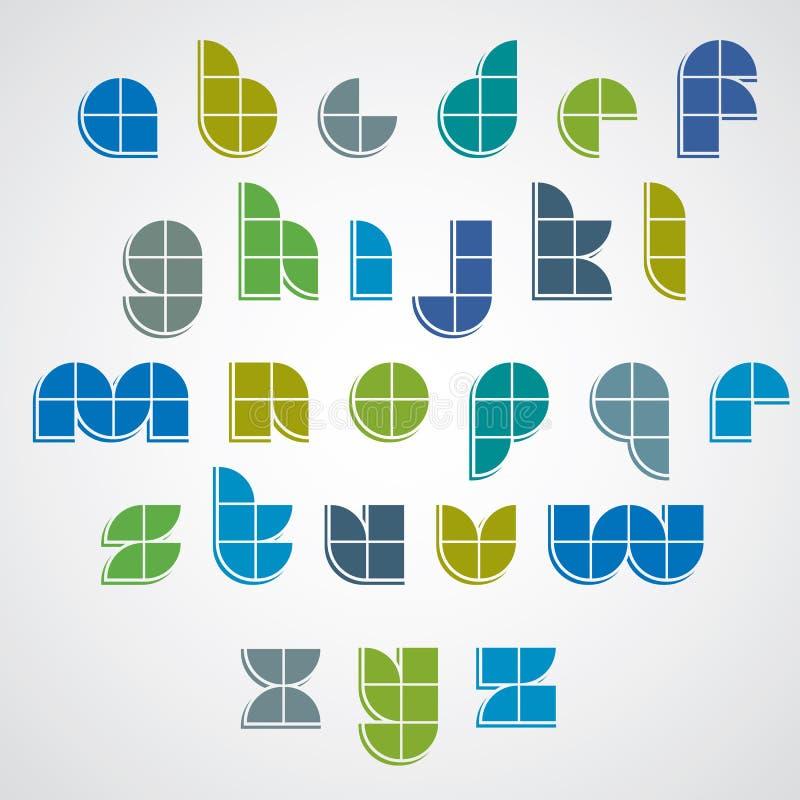 Police géométrique simple de style de Digital faite avec des places illustration stock