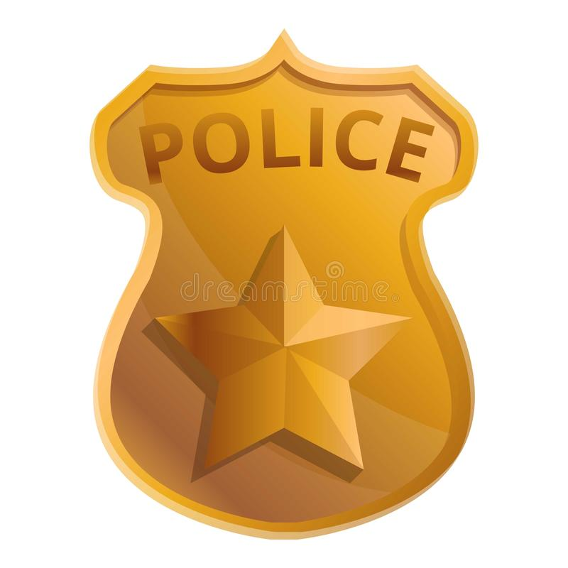 Police gold badge icon, cartoon style stock illustration