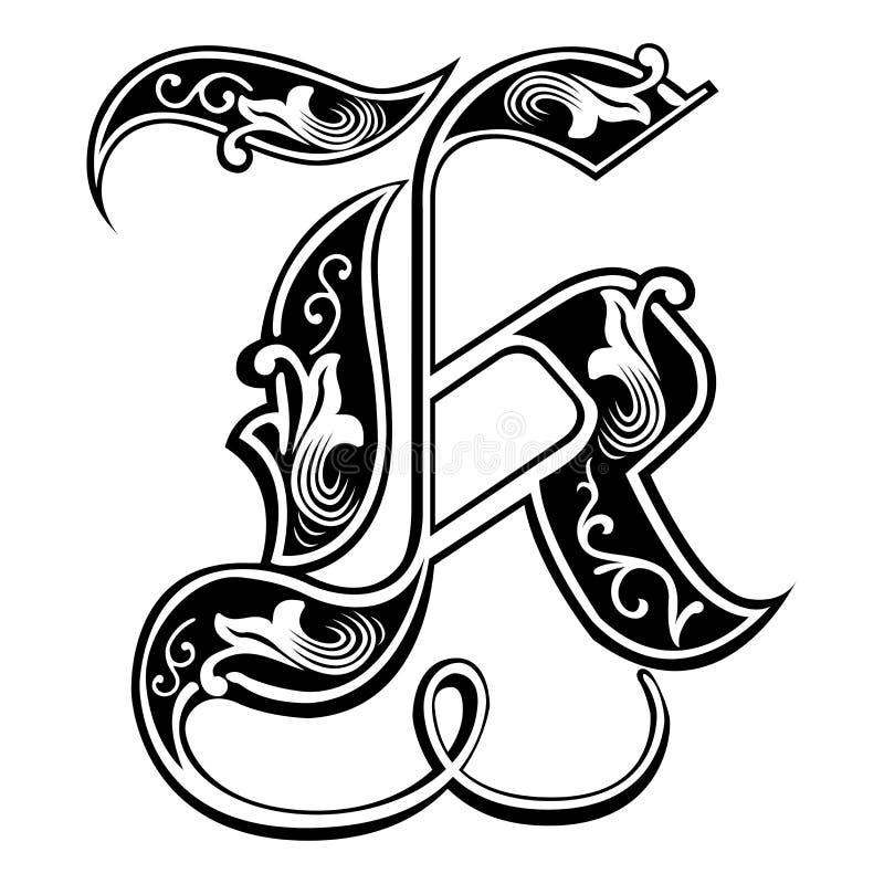 Police gothique garnie de style, lettre K illustration de vecteur