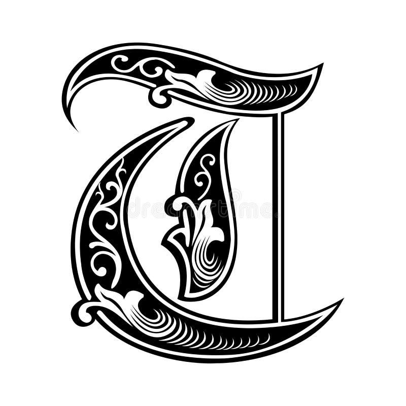 Police gothique garnie de style, lettre T illustration de vecteur