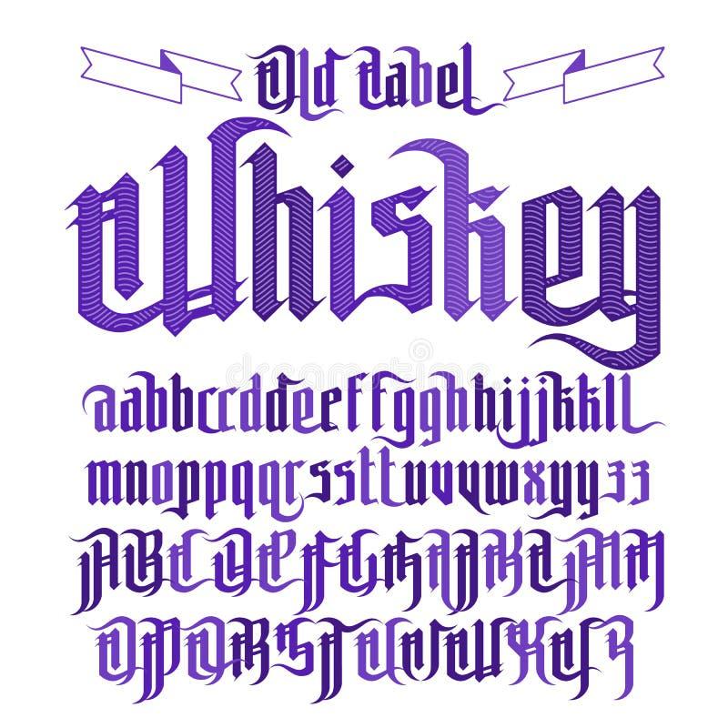 Police gothique moderne de label de whiskey illustration de vecteur