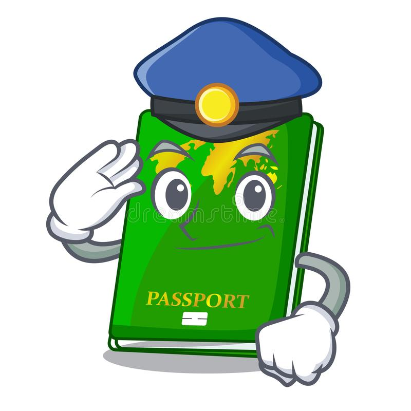 Police green passport in a character bag. Vector illustration vector illustration