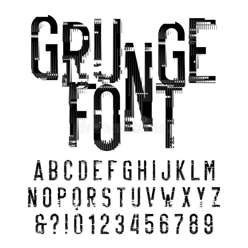 Police grunge d'alphabet Type affligé lettres et nombres sur le fond blanc illustration libre de droits
