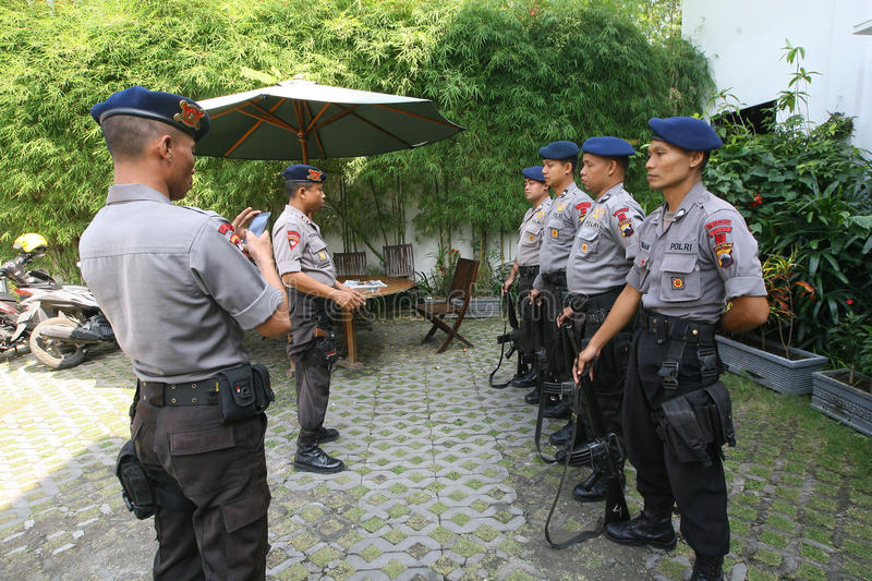 Police guard the President's home. Joko Widodo in the city of Solo, , Central Java, Indonesia stock photography
