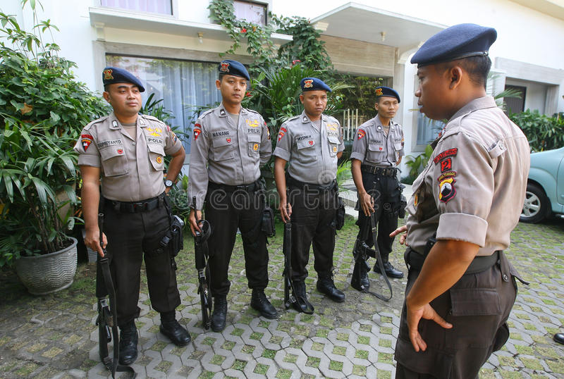 Police guard the President's home. Joko Widodo in the city of Solo, , Central Java, Indonesia royalty free stock photo