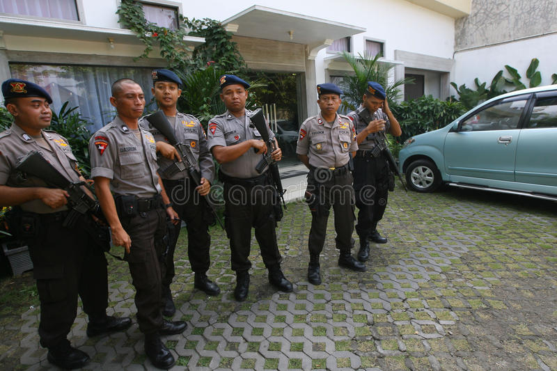 Police guard the President's home. Joko Widodo in the city of Solo, , Central Java, Indonesia stock photos