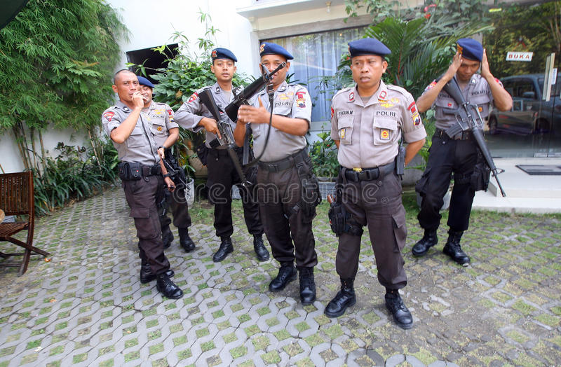 Police guard the President's home. Joko Widodo in the city of Solo, , Central Java, Indonesia royalty free stock photography