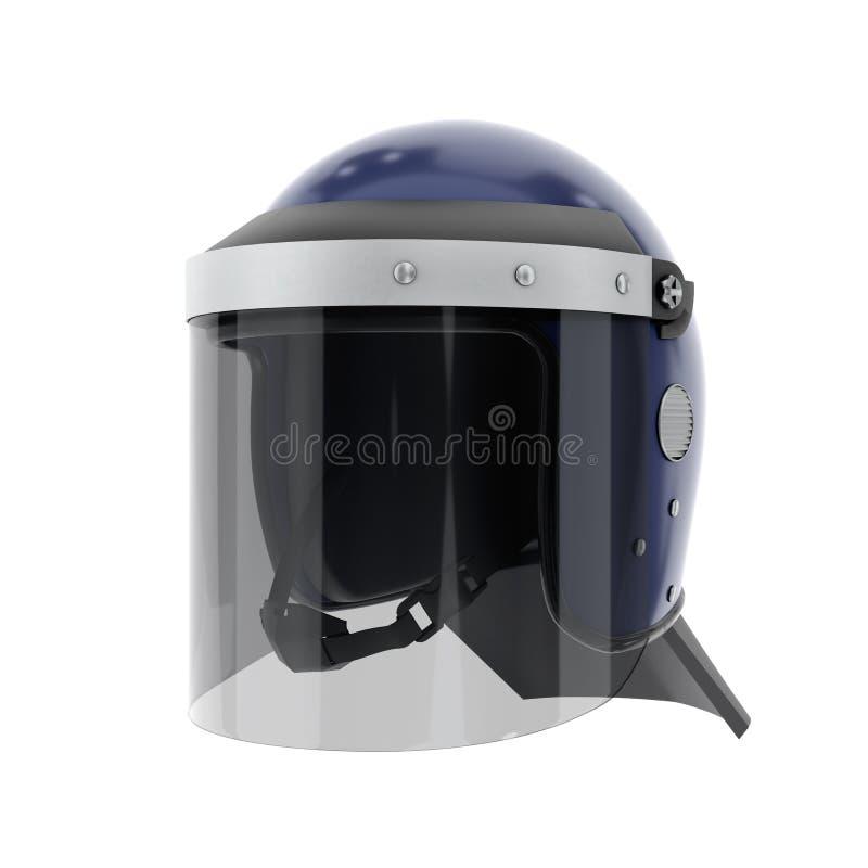 Police Helmet with Glass Visor. Police Riot Helmet with Closed Glass Visor. Perspective view. Police service Protect equipment. Template 3D render illustration vector illustration