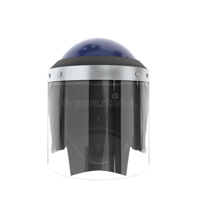 Police Helmet with Glass Visor. Police Riot Helmet with Closed Glass Visor. Front view. Police service Protect equipment. Template 3D render illustration vector illustration