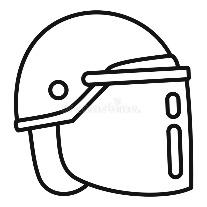 Police helmet icon, outline style stock illustration