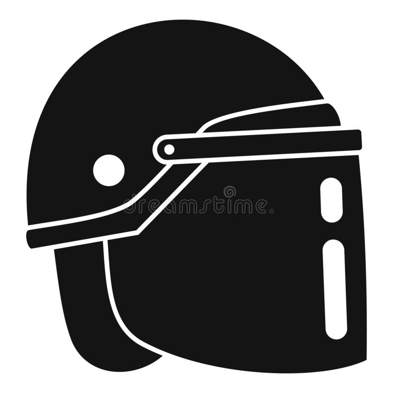Police helmet icon, simple style stock illustration