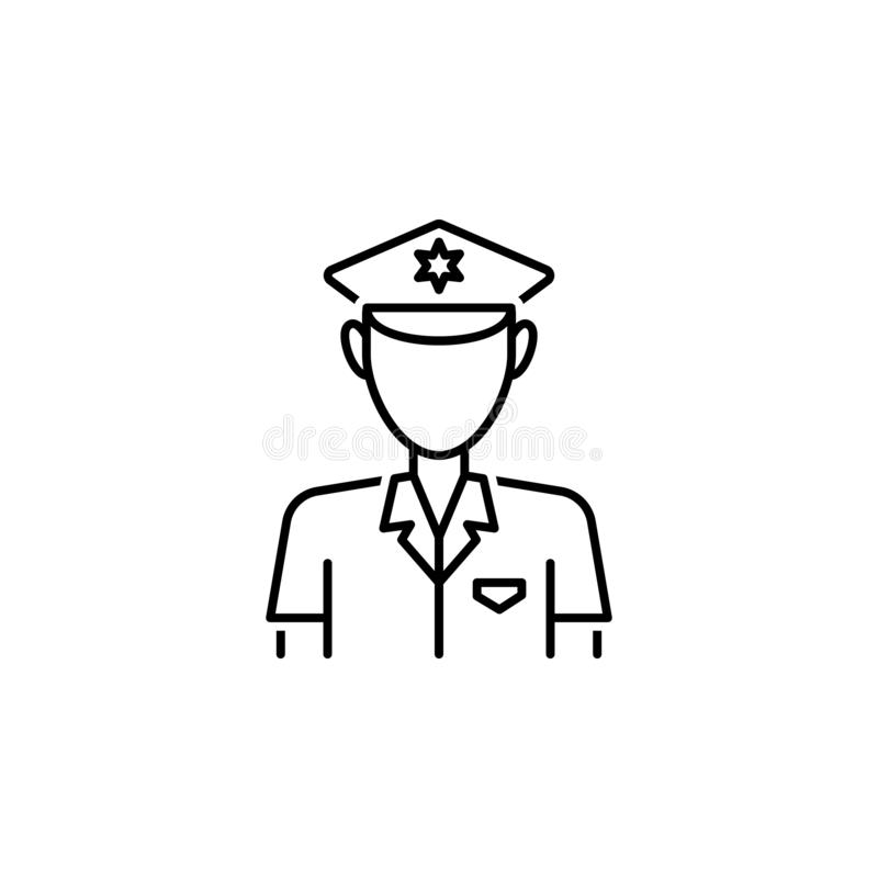 Police icon. Element of legal services thin line icon. On white background vector illustration