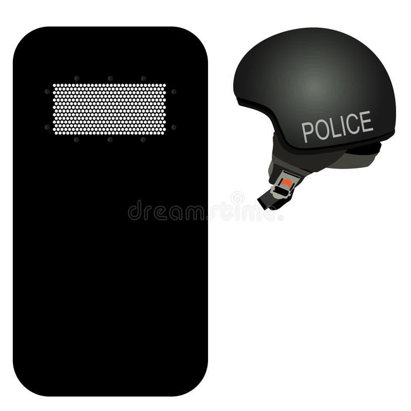 Police icon set. Police helmet and black riot shield icon set. Police protection. Police uniform vector illustration