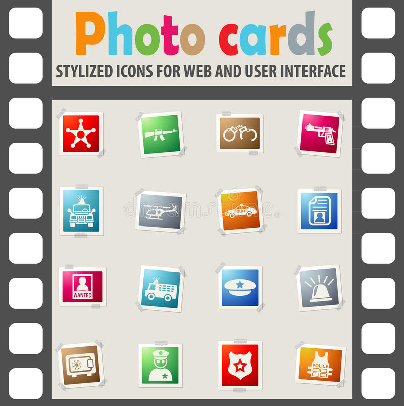 Police icon set. Police web icons on color photo cards for user interface royalty free stock images
