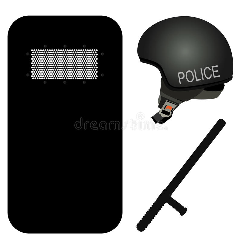 Police icon sey. Police helmet, stick and black riot shield icon set. Police protection. Police uniform. Police rubber baton. Security truncheons stock illustration