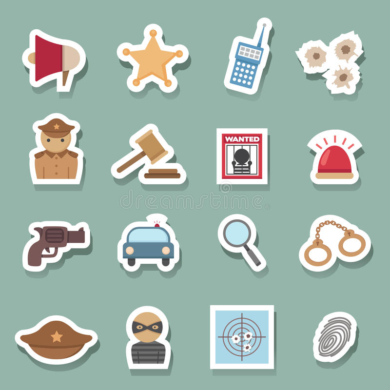 Police icons vector illustration
