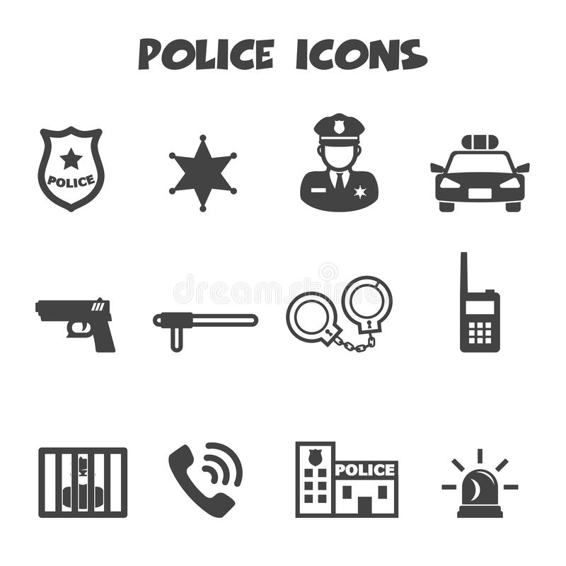 Police icons royalty free illustration