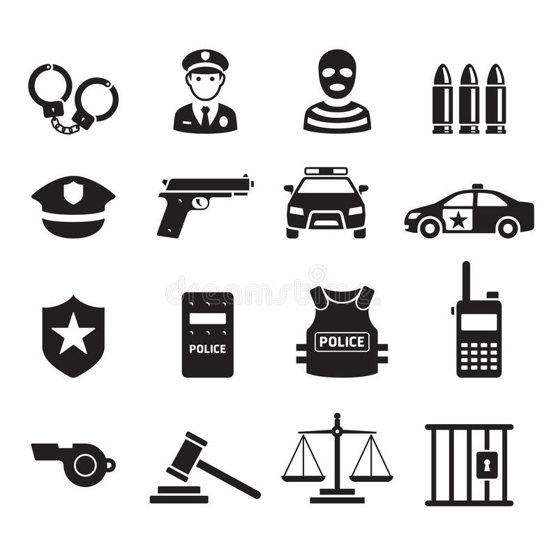 Police icons. Vector illustrations. vector illustration