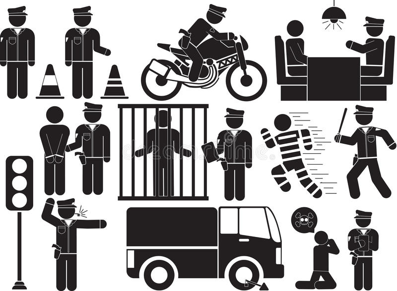 Police. Illustration - policeman and bandit icon set stock illustration