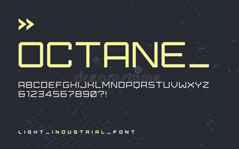 Police industrielle légère d'affichage de style de vecteur, typefa blocky moderne illustration de vecteur