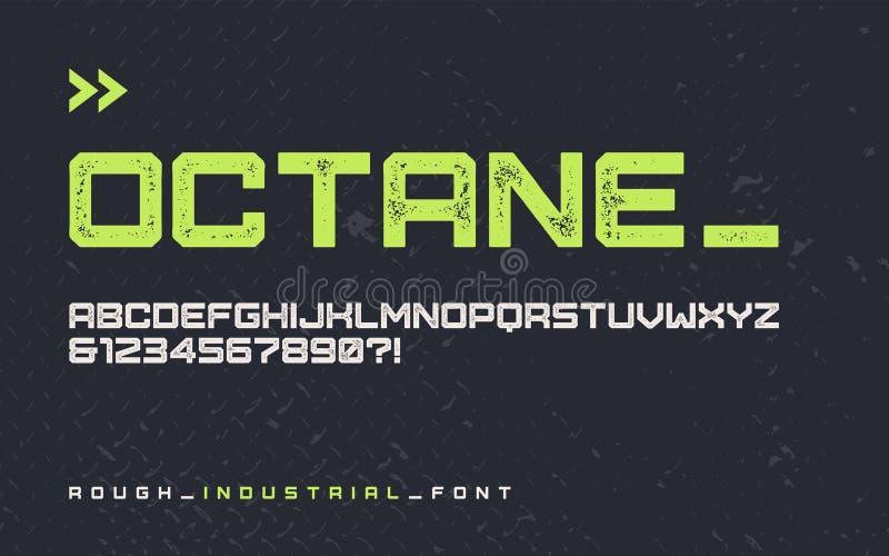Police industrielle rugueuse d'affichage de style de vecteur, typefa blocky moderne illustration stock