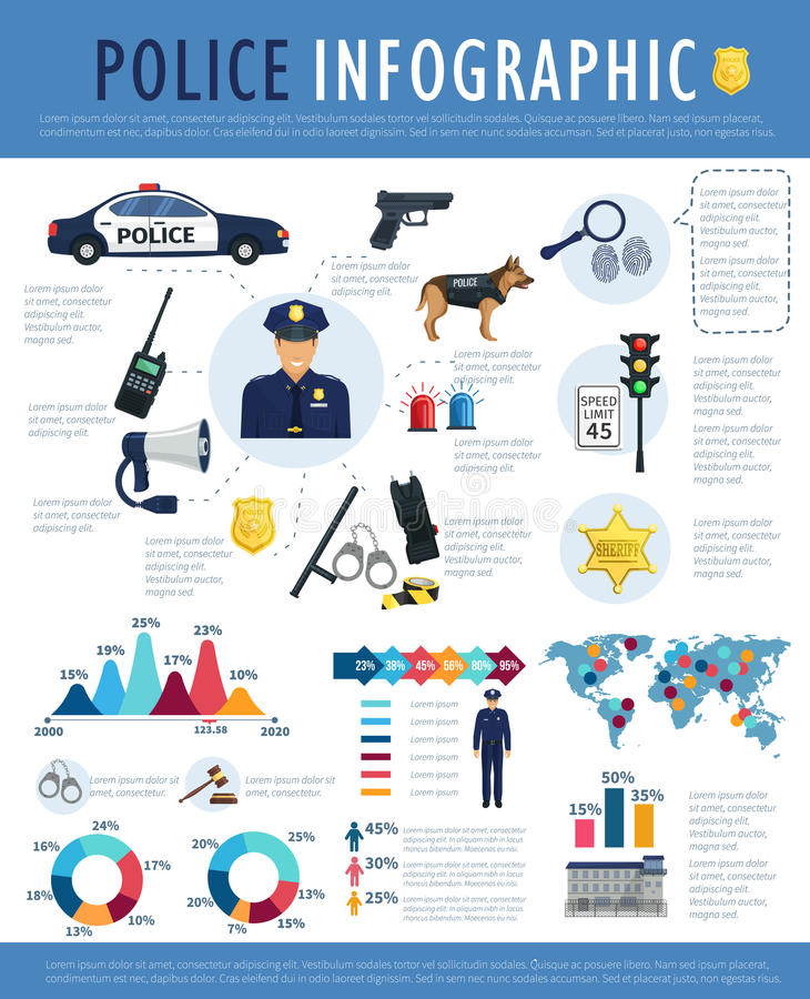 Police infographic for crime, law, justice design stock illustration