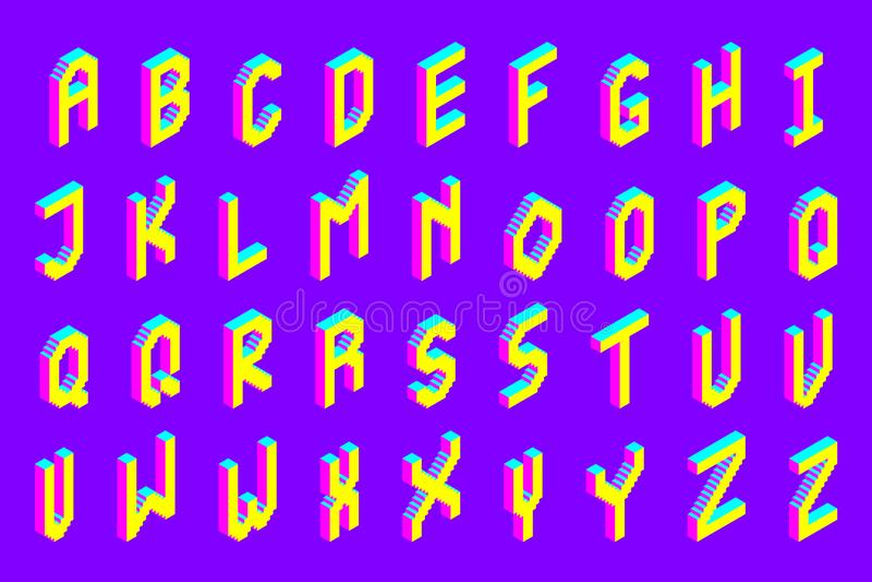 Police isométrique colorée audacieuse du pixel 3d illustration libre de droits