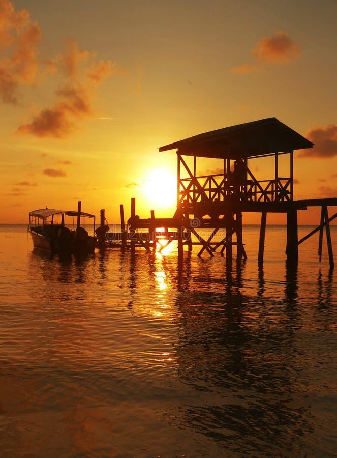 Police Jetty Sunset Sulu Sea SE Asia royalty free stock photo