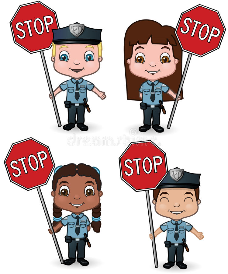 Download Police Kids With Stop Signs Stock Vector - Image: 18666581