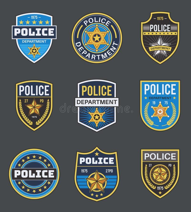 Free Police Labels. Policeman Law Enforcement Badges. Sheriff, Marshal And Ranger Logo, Police Star Medallions, Security Stock Photos - 168554983