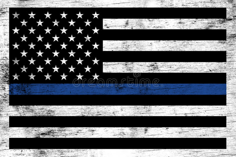 Police Law Enforcement Support Flag Background. A police and law enforcement support flag stained over a weathered white wooden background stock photography