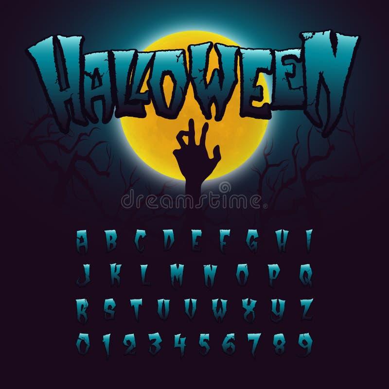 Police, lettres et nombres de Halloween illustration de vecteur
