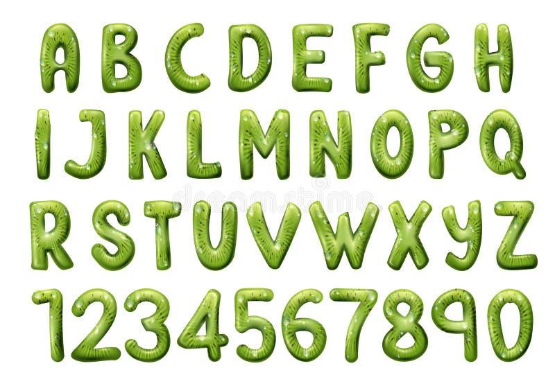 Police, lettres et nombres de kiwis tropicaux illustration de vecteur