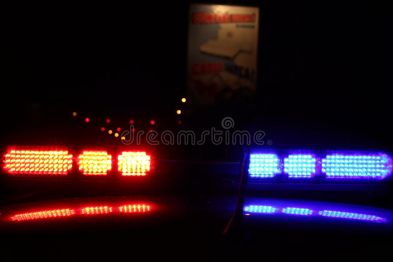 Police lights. A close-up photo of police lights by night stock photography