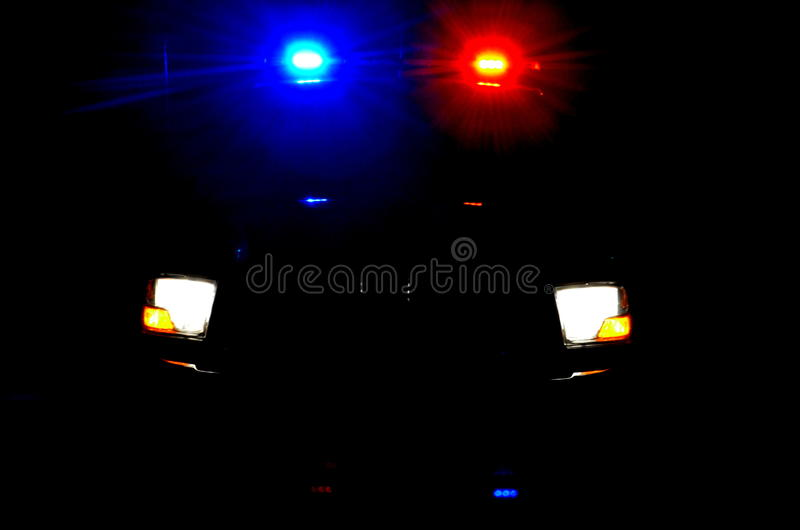 Police lights during the night royalty free stock photography