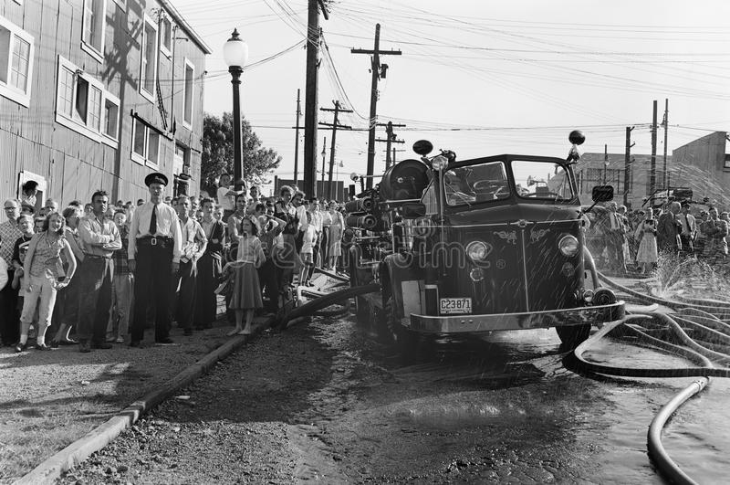 Police Line, Vintage News Photo, BC Canada royalty free stock image