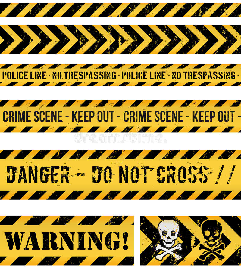 Police Line, Crime And Warning Seamless Tapes vector illustration