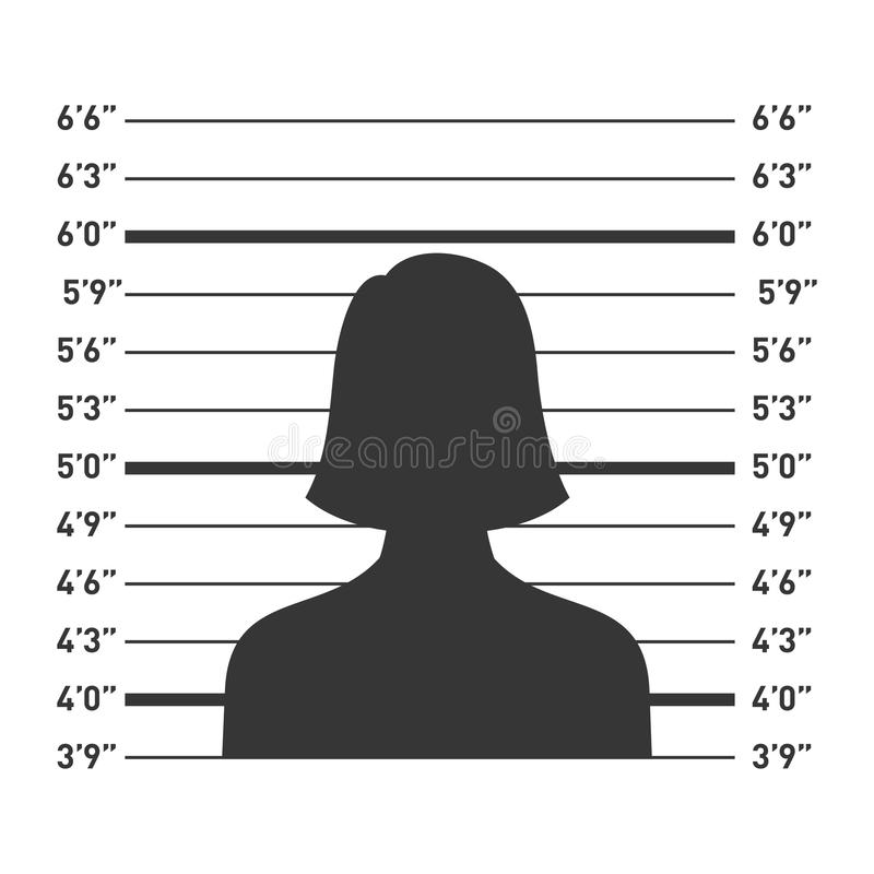 Police Lineup with Woman Silhouette. Vector stock illustration