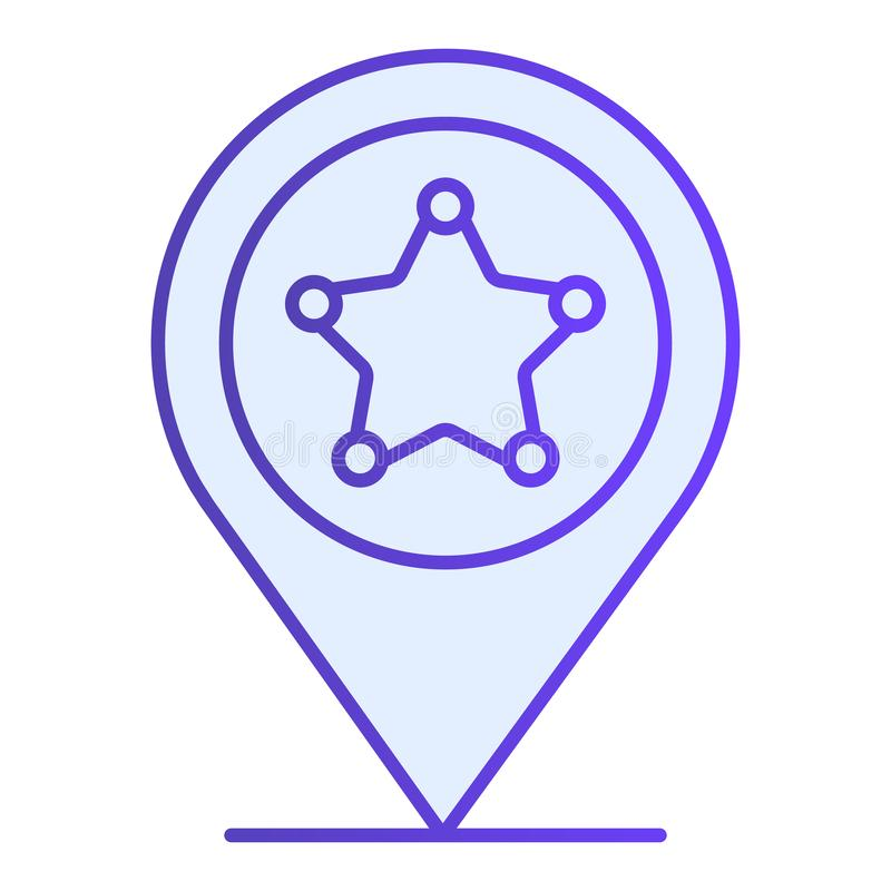 Police location flat icon. Police station gps blue icons in trendy flat style. Navigation gradient style design stock illustration