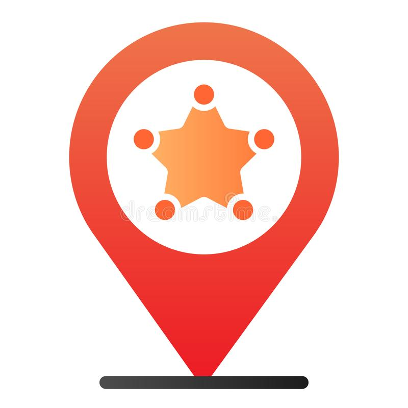 Police location flat icon. Police station gps color icons in trendy flat style. Navigation gradient style design vector illustration