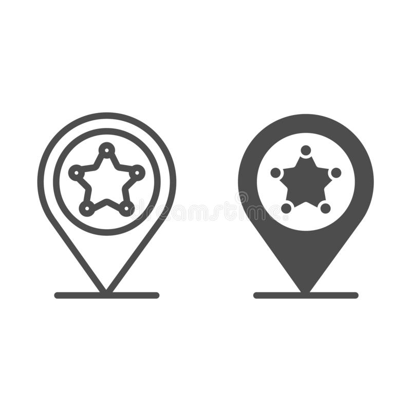 Police location line and glyph icon. Police station gps vector illustration isolated on white. Navigation outline style vector illustration