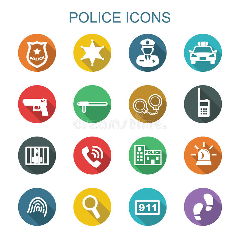 Police long shadow icons stock illustration