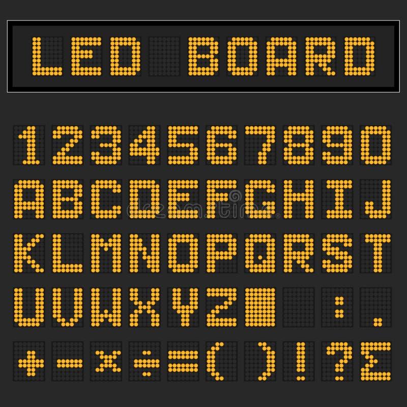 Police majuscule anglaise numérique orange, nombre et mathématique de LED illustration stock