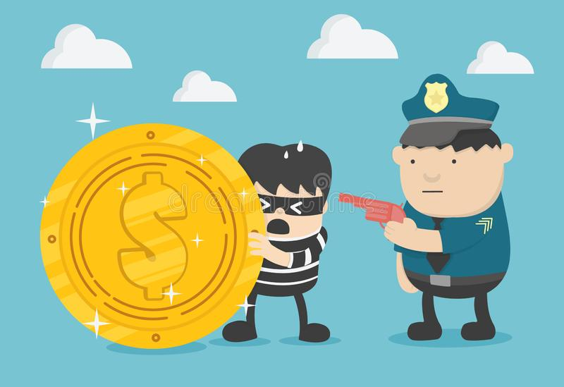 Police man in the black uniform caught the criminal, robbery stock illustration
