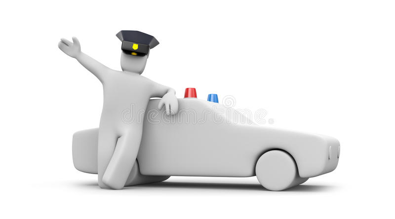 Police man with car stock illustration