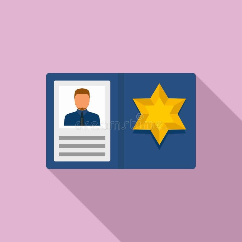Police man id card icon, flat style stock illustration